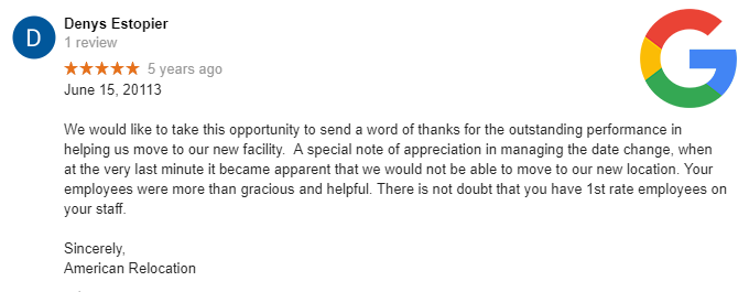 Google review for Texas commercial office relocation