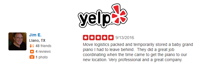 yelp review for professional white glove piano relocation