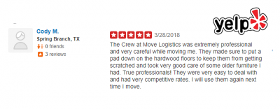 Yelp review for professional texas moving services