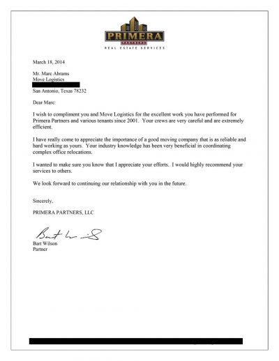 letter of recommendation for professional relocation services