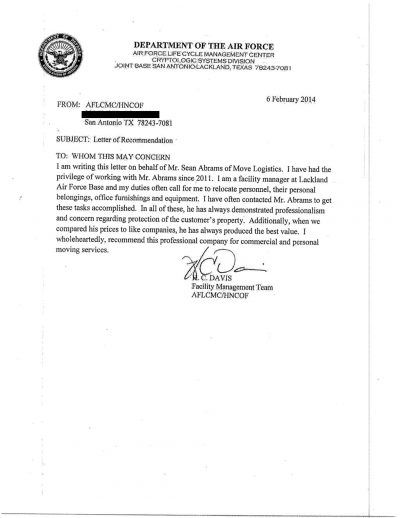 Military letter of recommendation for texas commercial and residential moving company