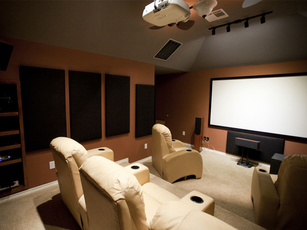home theater screen and recliners